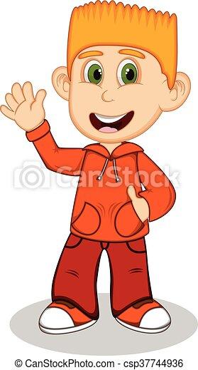 Boy with orange jacket - csp37744936