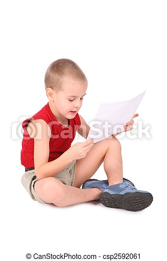 boy with paper isolated on white - csp2592061