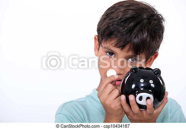 Boy with piggy bank - csp10434187