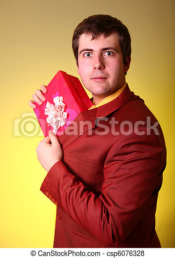 Boy with present box - csp6076328