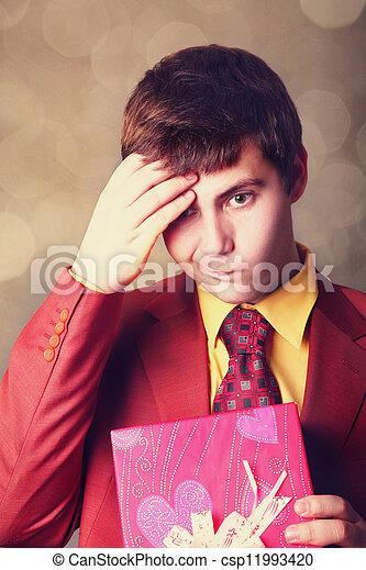 Boy with present box - csp11993420