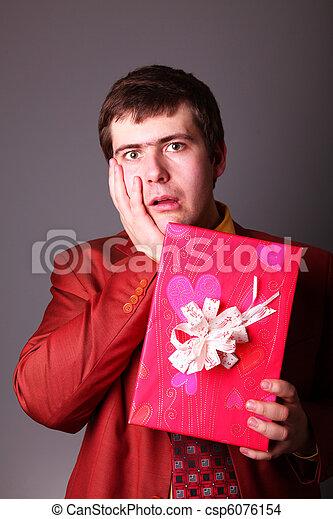 Boy with present box - csp6076154
