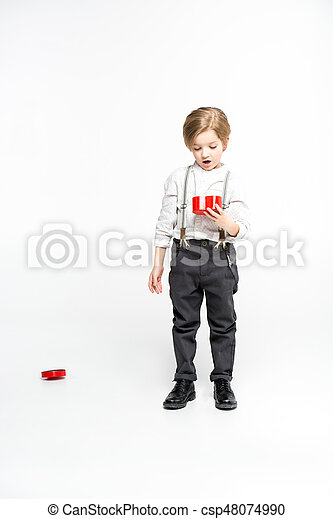 Boy with present box - csp48074990
