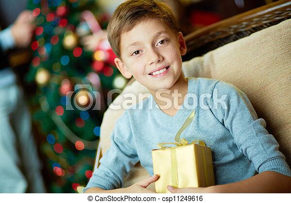Boy with present - csp11249616