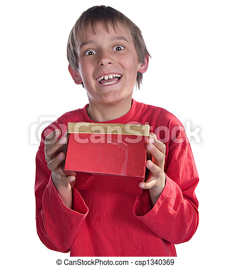 boy with present - csp1340369