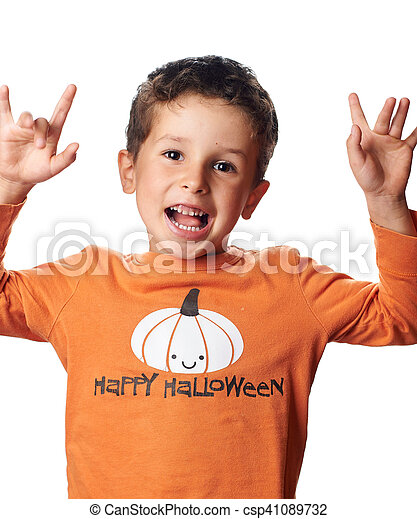 Boy with pumpkin on raglan is acting the ape - csp41089732