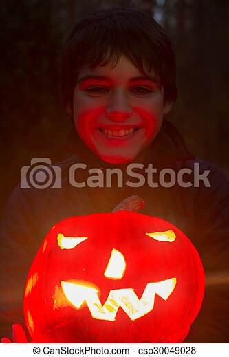Boy with pumpkin - csp30049028