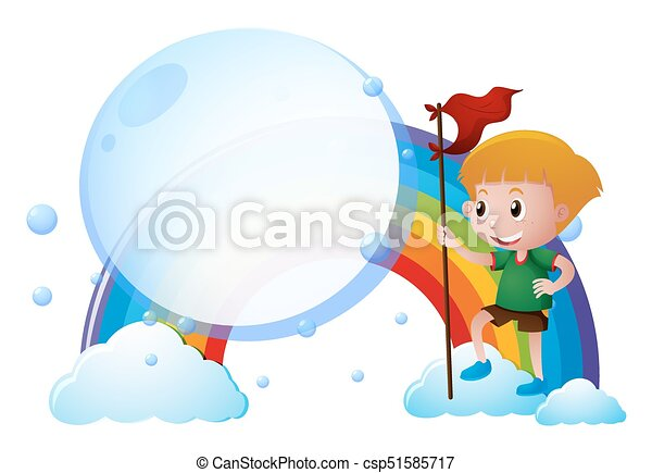 Boy with red flag on the rainbow - csp51585717