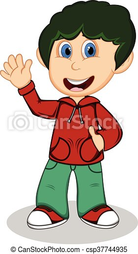 Boy with red jacket - csp37744935