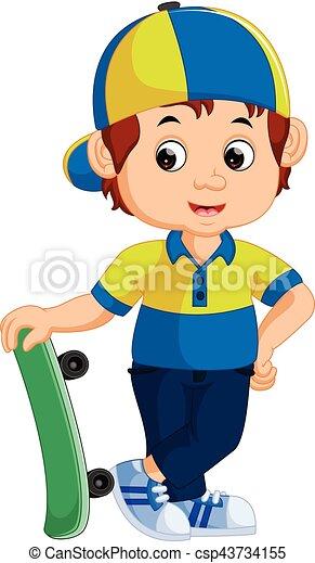 boy with skateboard - csp43734155