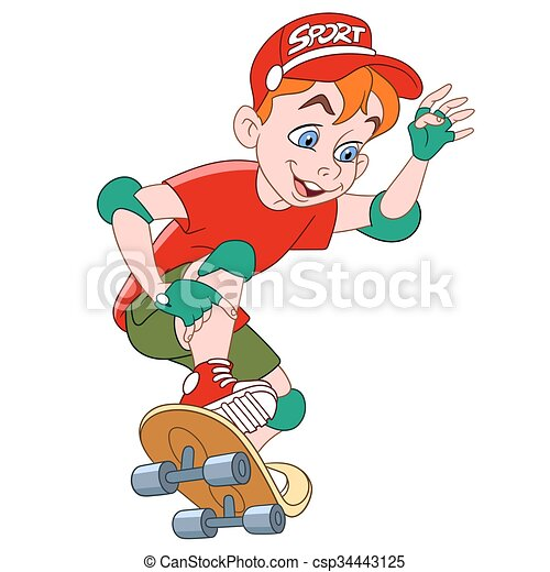 boy with skateboard - csp34443125