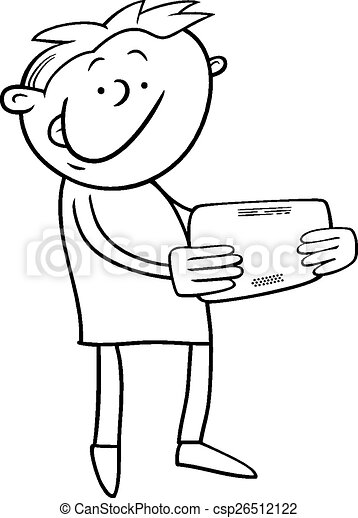 Boy with tablet coloring page. Black and white cartoon ...