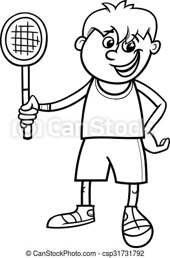 Boy with tennis racket coloring page. Black and white cartoon ...