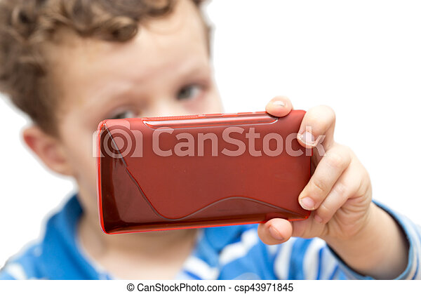 boy with the phone on a white background - csp43971845