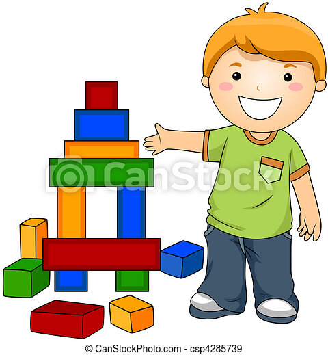 Boy with Toy Blocks - csp4285739