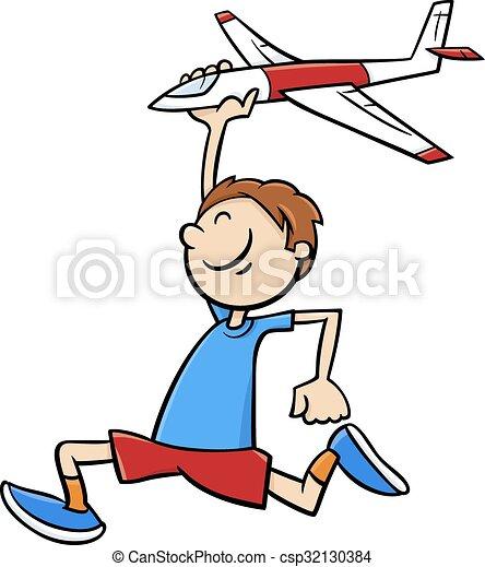 boy with toy plane cartoon - csp32130384