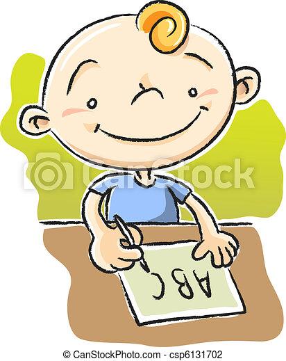 boy writing abc csp6131702