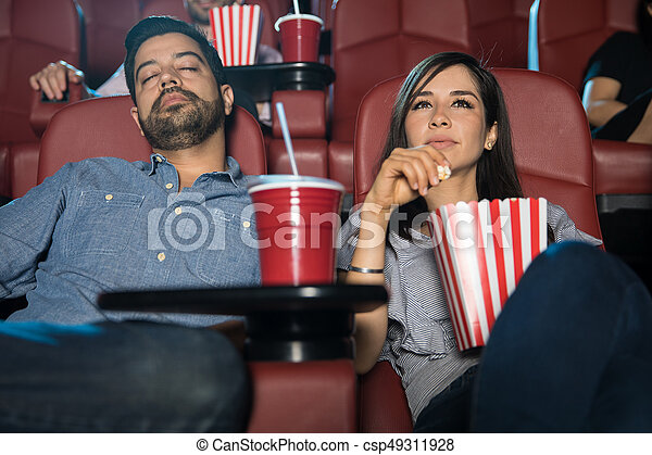 boyfriend falling asleep at the movies hispanic man falling asleep