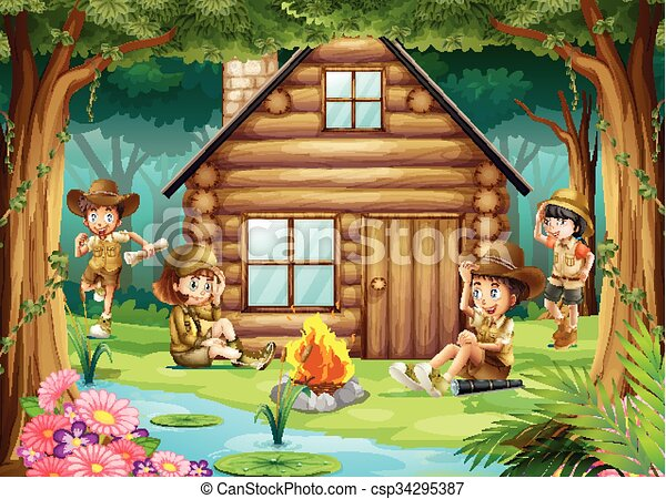 Boys And Girls Camping Out In The Woods Illustration