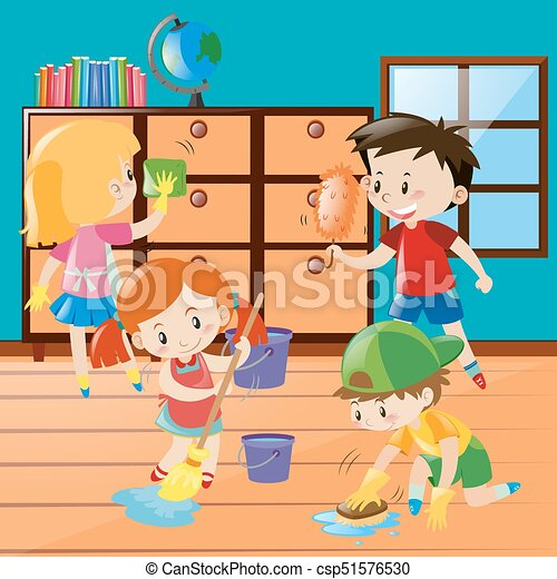 Boys and girls cleaning room together illustration.