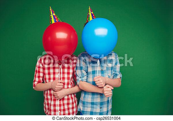 Boys behind balloons - csp26531004