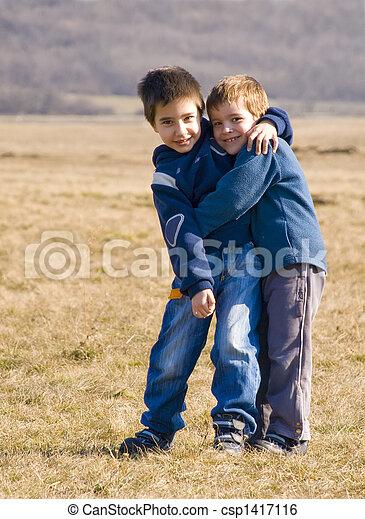 boys hugging - csp1417116