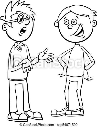 Boys Kid Characters Talking Cartoon Coloring Page