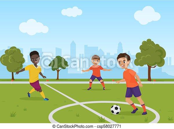 Boys Kids Playing Soccer Football Vector Illustration Boys Kids Playing Soccer Football Vector Illustration