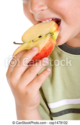 Boys mouth with apple slice - csp1479102