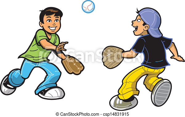 Boys Playing Catch - csp14831915