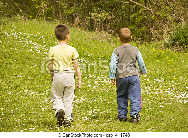boys walking - csp1411748