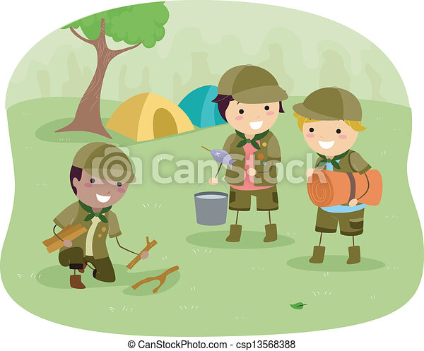 Boyscouts on Camping - csp13568388