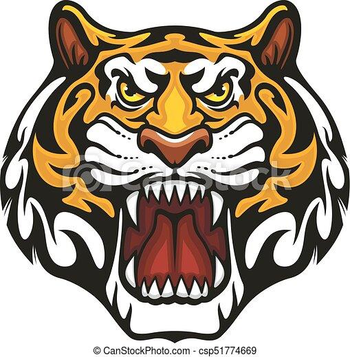 bozal, tigre, mascota, vector, animal, deporte del equipo, icono - csp51774669