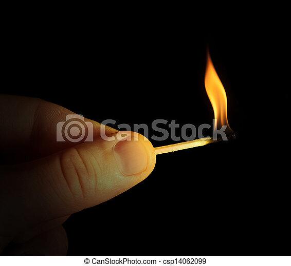 brännande, hand, käpp, tändsticka, holdingen - csp14062099