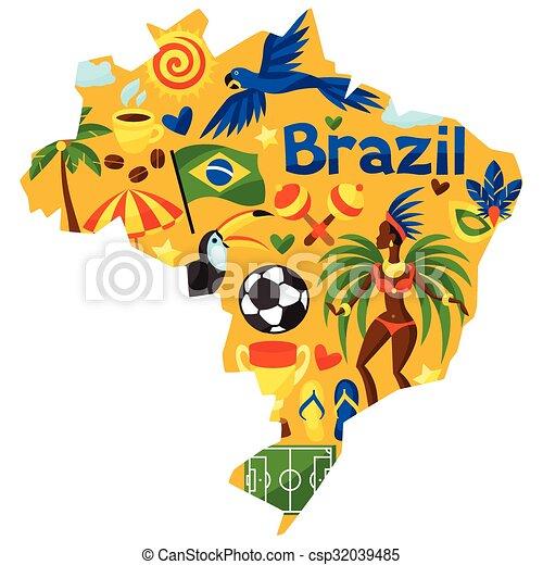 brésil, carte, stylisé, culturel, objets, symboles - csp32039485