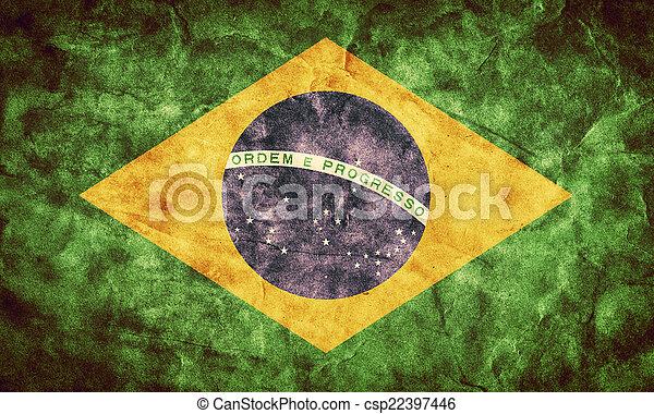 brésil, grunge, flag., vendange, article, drapeaux, retro, collection, mon - csp22397446