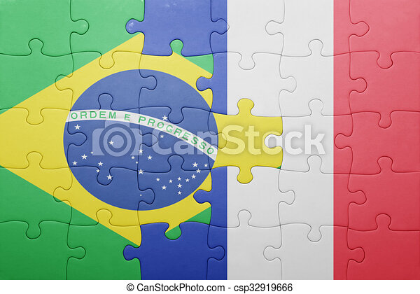 brésil, puzzle, drapeau, national, france - csp32919666