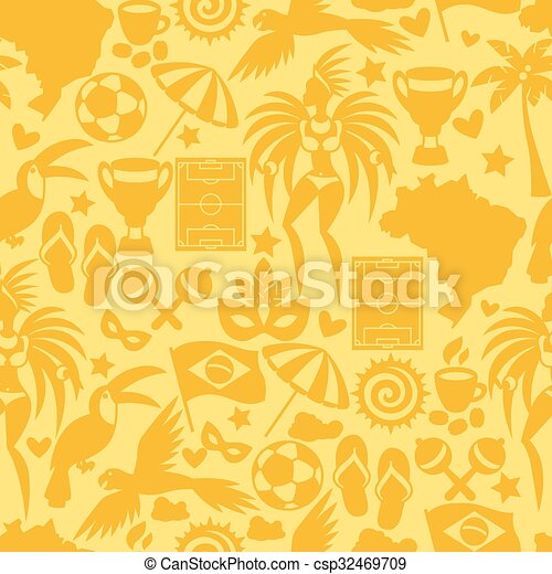 brésil, symboles, modèle, seamless, stylisé, culturel, objets - csp32469709