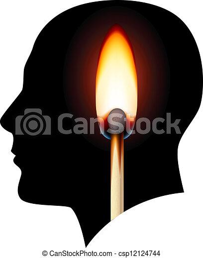 brûlé, idées, allumette, créatif - csp12124744