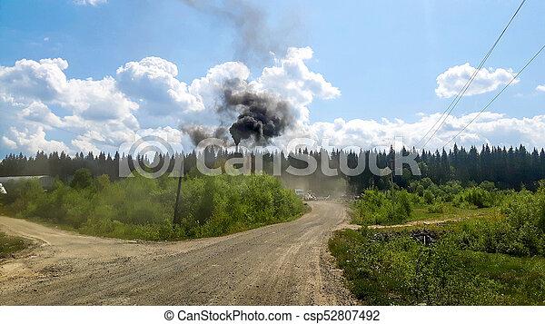 brûlé, laid, milieu, forêt, gaspillage, russie - csp52807492