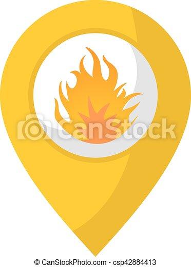 brûler, emplacement, icône - csp42884413
