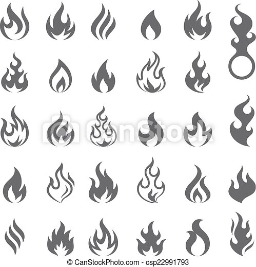 brûler, ensemble, flamme, vecteur, icône - csp22991793
