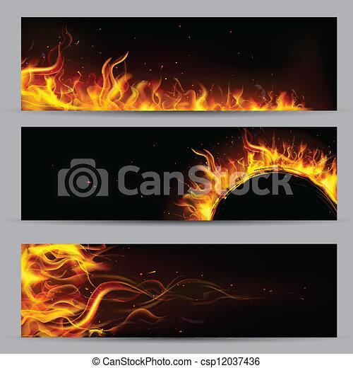 brûler, flamme, gabarit - csp12037436