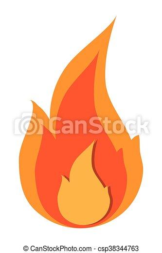 Brûler Flamme Icône Plat Simple Illustration Brûler Vecteur