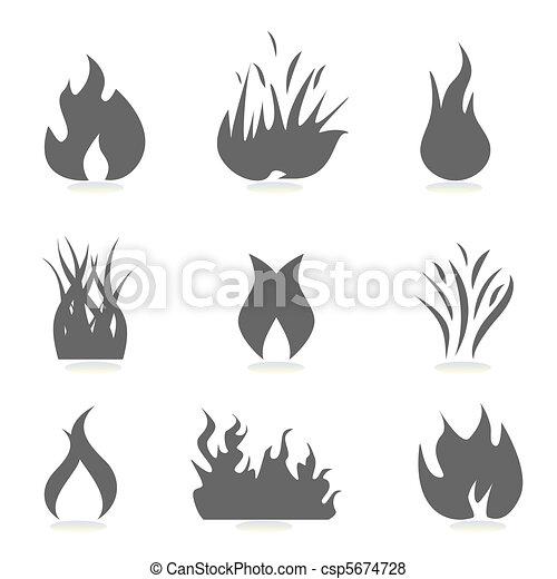 brûler, flamme, icônes - csp5674728