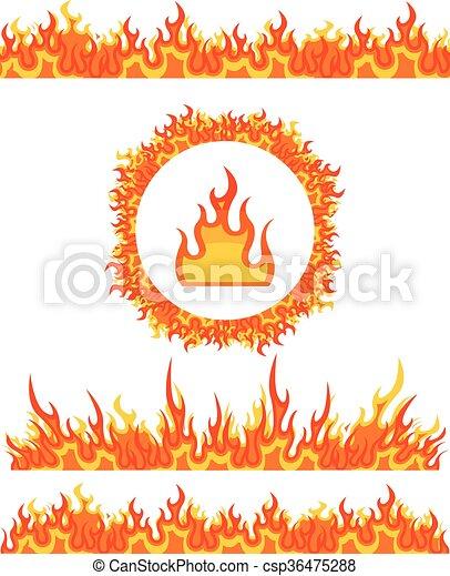 Brûler Frame Simple Motifs Vecteur Flamme Frontières