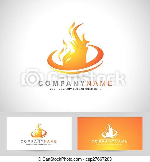 brûler, logo, flamme - csp27667203