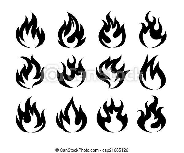 Brûler Noir Vecteur Flamme Icônes