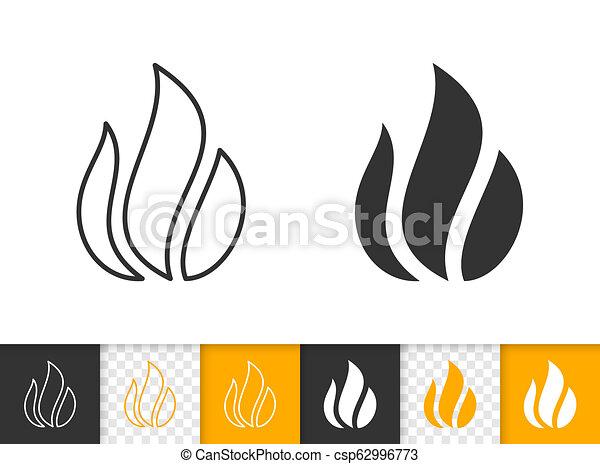 Brûler Simple Vecteur Flamme Noir Ligne Feu Icône