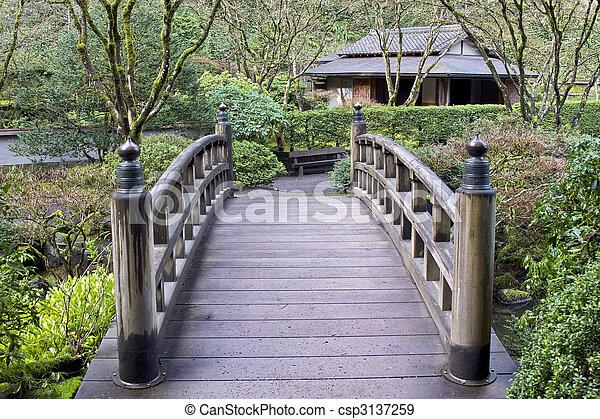 Brücke Arbeiten Garten Japaner Oregon überfahrt Portland